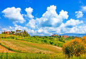 Beautiful landscape with the historic cities of San Gimignano and Certaldo in the background in Tuscany, Italy — Stock Photo