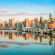 Beautiful view of Vancouver skyline with harbor at sunset, BC, Canada — Stock Photo #26385745
