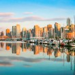 Beautiful view of Vancouver skyline with harbor at sunset, BC, Canada — Stock Photo