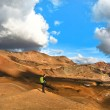Panoramic view of beautiful geothermal landscape with woman standing on mountain top near Askja crater lake, South Iceland — Stock Photo
