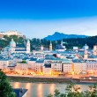 Salzburg skyline panorama with river Salzach at dusk, Salzburger Land, Austria — Stock Photo