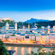 Stock Photo: Salzburg skyline panoramwith river Salzach at dusk, Salzburger Land, Austria