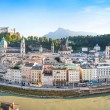 Salzburg skyline panorama with river Salzach at sunset, Salzburger Land, Austria — Stock Photo #26386671