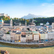Stock Photo: Salzburg skyline panoramwith river Salzach at sunset, Salzburger Land, Austria