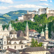 Beautiful view of the historic city of Salzburg with Festung Hohensalzburg in summer, Salzburger Land, Austria — Stock Photo #26387299