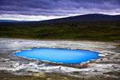 Beautiful landscape with hot geothermal spring at night in Iceland — Stock Photo