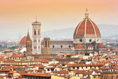 Cathedral Santa Maria Del Fiore with Giotto's Campanile at sunset in Florence, Italy — Stock Photo