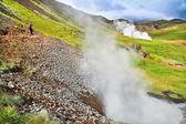 女性 hveravellir、アイスランドの間欠泉に沿って美しい地熱風景の中のトレイルをハイキング — ストック写真