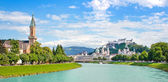 Panoramic view of Salzburg skyline with Festung Hohensalzburg an — Stock Photo