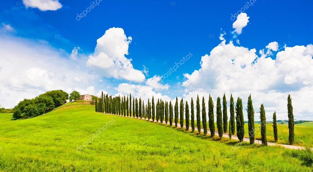 Bellissimo paesaggio con casa sulla collina in val dorcia for Piani casa ranch in collina