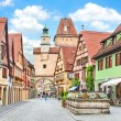 Stock Photo: Historic town of Rothenburg ob der Tauber, Franconia, Bavaria, Germany