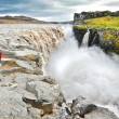 Woman standing near famous Dettifoss waterfall in Vatnajokull National Park, Iceland — Stock Photo #29626279