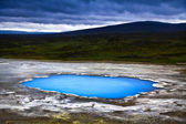 Beautiful landscape with hot geothermal spring Blahver at night in Iceland — Stock Photo