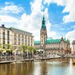 Beautiful view of Hamburg city center with town hall and Alster river, Germany — Stock Photo #38809217