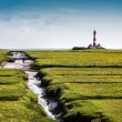 Beautiful landscape with famous Westerheversand lighthouse in the background at North Sea in Nordfriesland, Schleswig-Holstein, Germany — Stock Photo #38809249