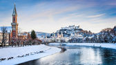 Salzburg skyline panorama with Festung Hohensalzburg and river Salzach in winter, Salzburger Land, Austria — Stock Photo