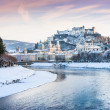 Stock Photo: Salzburg skyline with Festung Hohensalzburg and river Salzach in winter, Salzburger Land, Austria
