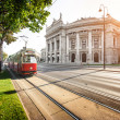 Famous Wiener Ringstrasse with Burgtheater and traditional tram in Vienna, Austria — Stock Photo