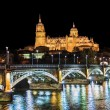 Beautiful view of the historic city of Salamanca with New Cathedral and Enrique Esteban bridge at night, Castilla y Leon region, Spain — Stock Photo