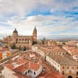 Stock Photo: Aerial view of historic city of Salamancat sunrise, Castilly Leon region, Spain
