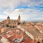 Aerial view of the historic city of Salamanca at sunrise, Castilla y Leon region, Spain — Stock Photo
