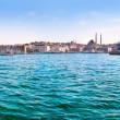 Panoramic view of famous Golden Horn with Bosphorus and Galata bridge in Istanbul, Turkey — Stock Photo