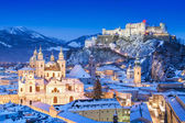 Historic city of Salzburg with Festung Hohensalzburg in winter, Salzburger Land, Austria — Stock Photo