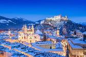 Historic city of Salzburg with Festung Hohensalzburg in winter, Salzburger Land, Austria — Stock Photo