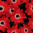 Red and black seamless pattern with water lilies - Image vectorielle