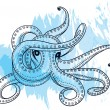 Stock Vector: Creative manually drawn graphics octopus