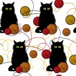 Amusing kittens with wool balls - vector seamless pattern — Image vectorielle