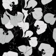Seamless pattern from monochrome black and white orchids — Stock Vector