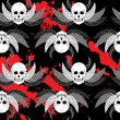Seamless pattern with skull, horns and wings — Imagen vectorial
