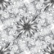 Vector monochrome geometrical seamless pattern from abstract flowers — Stock Vector