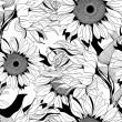 Stock Vector: Vector monochrome seamless pattern from sunflower