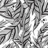 Monochrome seamless pattern from feathers of birds — Stock Vector