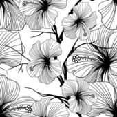 Monochrome retro vintage seamless vector pattern abstract flowers and leaves — Stock Vector