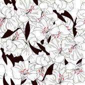 Vector seamless pattern of abstract black white flowers and leaves — Stock Vector