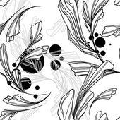 从花、 线条和卷发的抽象背景 — 图库矢量图片