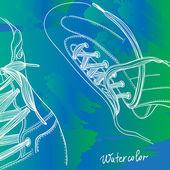 Botas con cordones agua color dibujo — Vector de stock