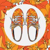 Sapatos de ginástica feminina com padrão de flores — Vetorial Stock