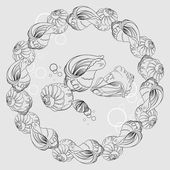 Seamless monochrome pattern from gentle sea shells — Stock Vector