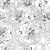 Monochrome retro vintage seamless vector pattern abstract flowers and leaves — Vettoriale Stock