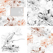 Set seamless monochrome patterns and backgrounds from abstract flowers — Stock Vector
