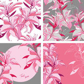 Set from vector pink-grey lilies - seamless patterns and frames — Stock Vector