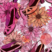 Women's shoes and flowers - seamless pattern — ストックベクタ