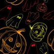 Seamless pattern for Halloween with pumpkins and ghosts — Vettoriali Stock