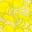 Stock Vector: Seamless pattern from yellow juicy lemons