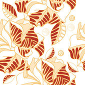 Abstract seamless pattern of leaves — Stock Vector