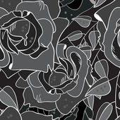 Black and white decorated with roses pattern — Stock Vector
